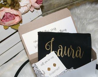 bridesmaid proposal box, proposal gift, bridesmaid proposal, bridesmaid gift, cosmetic case, bridesmaid earrings