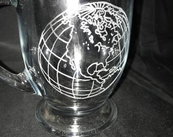 World etched glass coffee mug, coffee cup, hand etched, globe, planet, earth