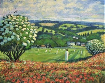 Original oil painting Gerry Wright English Village Cricket Match landscape pastoral Fathers Day Gift sport new home solicitor sports gift