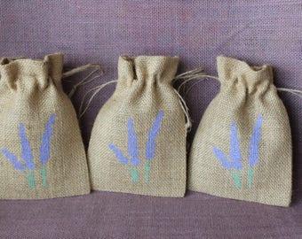 Burlap Lavender Bag- Small burlap lavender pouch