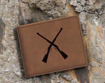 Engraved Bifold Wallet-Personalized Hunting-Full Size Art Work-Dark Brown Wallet-Rifles