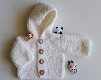 Jacket Vest baby birth in 24 months knit ecru woolen hand with hood