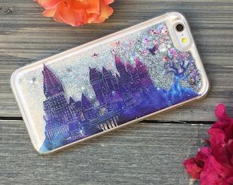 Wizards School Twilight iPhone Castle Case, Silver Glitter. iPhone 5, SE, 6, 6 Plus, 7, 7 Plus, 8, 8 Plus