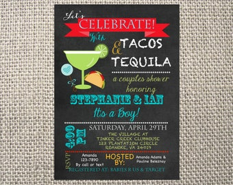 PRINTED or DIGITAL |  Fiesta Tacos and Tequila | Baby Shower Invitation | Invites | Mexican | Margaritas | Boy | Custom Invitations .82 each