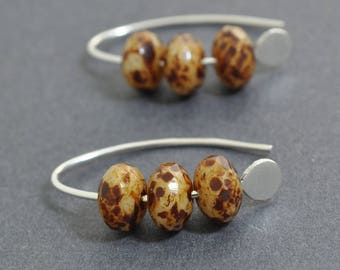 Sterling Silver Hoops, Czech Glass, Picasso, Everyday Hoops, Bead Hoops