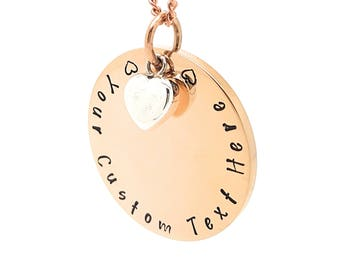 Personalised Family Name Necklace Rose Gold and Sterling Silver Love heart Charm Personalised Gift Made to Order. Hand Stamped Gift for Mum