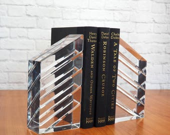 Vintage 70s Faceted Lucite Bookends