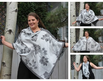 Black Rose Pashmina Poncho Shawl
