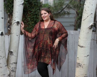 Red and Gold Metallic Paisley Shawl Top - Silk