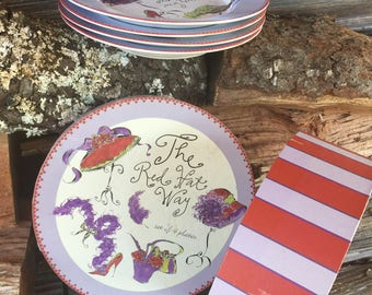 Red Hat Way, Set of 4 Plates,  Like New in Hatbox,  Home and Living, Serving Plates, Kitchen and dining