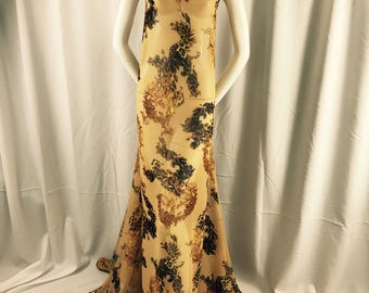 Leopard and damask print on a gold chiffon-apparel-fashion-dresses-prom-nightgown-modern wear-summer dresses-scarfs-sold by the yard.