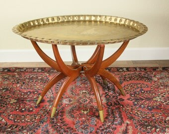 Vintage Rosewood Brass Tray With Spider Legs India Morocco Mid Century  Serving Tray With Folding
