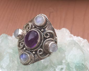 Amethyst and Moonstone Multi-Stone Silver Ring -