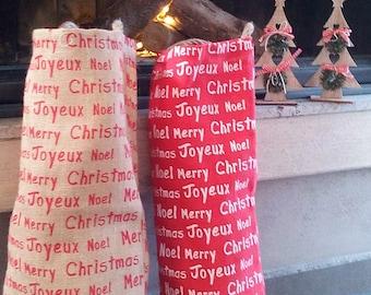 READY TO SHIP - Sale - Christmas Burlap Bags - Christmas Burlap Sacks - Burlap Sack - Christmas Gift Bag - Santa Sacks - Stocking - Set of 2