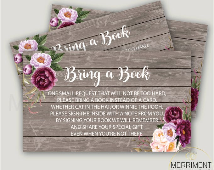 Burgundy Bring a Book Card // Watercolor Floral Bring a Book Insert // Purple // Rustic Wood // Instant Download // FLORENCE COLLECTION