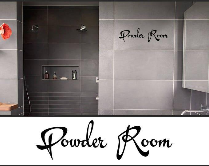 Powder room decal - Bath Door decal - Bathroom Door Sign - Powder Room, Bath Decoration, Restroom Bathroom Vinyl Decal sticker Laundry room