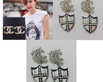 New Fashion womens C.C. Pearls Shield Chanel inspired CZ Earrings White Pink Or Gold