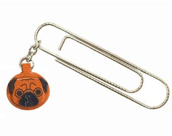 Pug Dog Leather Charm/Paper Clip *VANCA* Made in Japan #61047 Free Shipping
