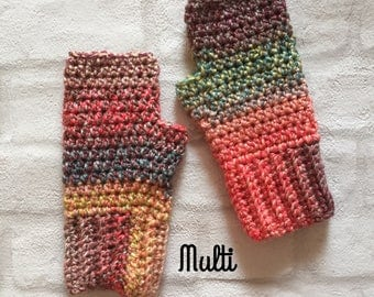 Chunky Crochet fingerless gloves, ladies, teenage, kids, boho, festival wear, texting gloves, wrist warmers - various colours  available