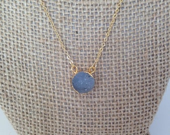 15% OFF SALE Dainty Natural Grey Druzy Pendant Necklace 14K Gold Filled // Boho Jewelry // Boho Luxe // Boho Necklace