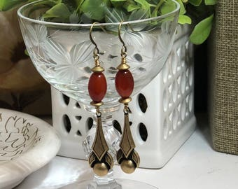 Carnelian art Deco Dangles