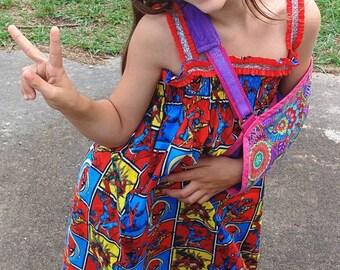 Smocked sundress ruffle top maxi dress, Superhero print fabric, child's smocked dress, toddler smocked dress, red ruffle and glitter, teen