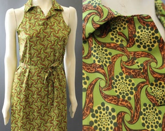 Vintage 70s Funky Psychedelic Print Sleeveless A Line SHIFT SHIRT DRESS S M