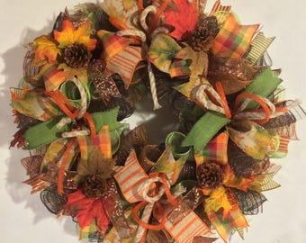 Fall deco mesh wreath, fall wreath, thanksgiving harvest deco mesh wreath, pinecone wreath, fall wreaths, wreath, autumn pinecone wreath