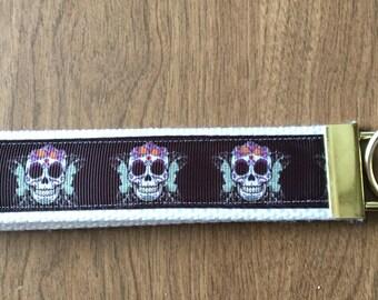 Sugar Skull Key Chain Wristlet Zipper Pull