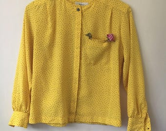 Vintage Yellow Polka Dot Blouse