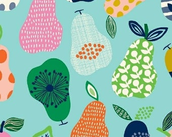 Hand Picked - Pears Aqua - Carolyn Gavin of Ecojot - Windham (43111-5) - Organic Cotton