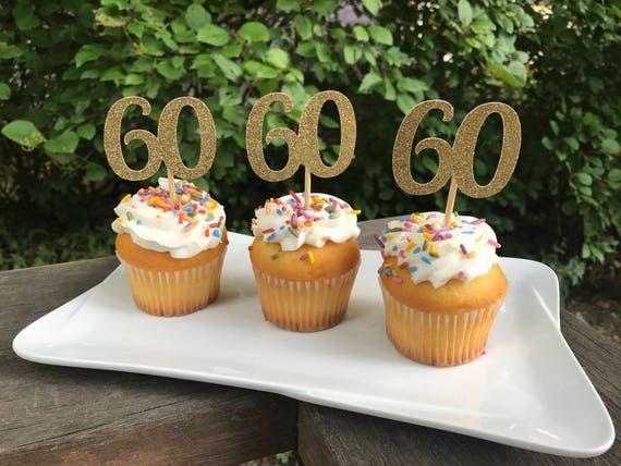 60th Birthday Cupcake Toppers 12 Ct Glitter 60th Birthday
