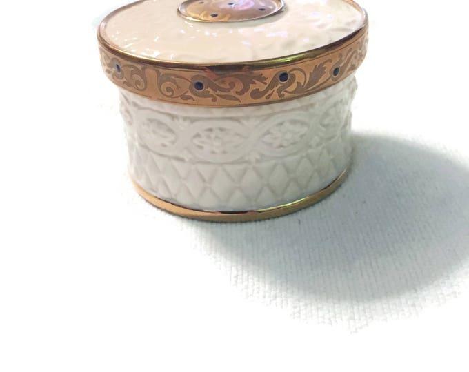 Vintage LENOX Trinket Box, Lenox China Treasures Heirloom Collection Lidded Round Box Gold, Vanity Decor