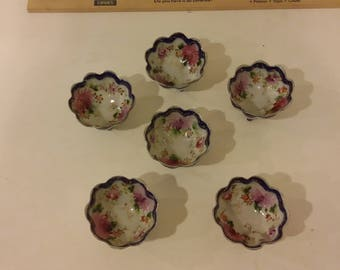 Vintage Handpainted Three Footed Finger Bowls, 1960's