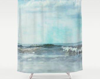 shower curtain, bathroom decor, modern shower curtain, photo curtain, sea ocean waves blue aqua aquamarine mint sky