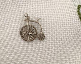 Vintage Jewelry - Sterling Silver - Penny Farthing Bike Charm for a Charm Bracelet or Necklace - by Nuvo - Cycle