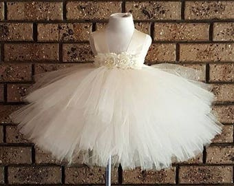 2 RESERVED ORDER Ivory layered Tutu dress- Ivory short Tutu Dress- Birthday,flower girl, special occasion