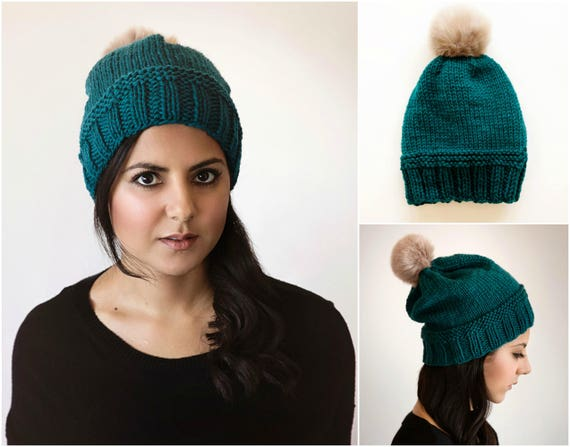 Simple Modern Slouchy Winter Beanie Hat Knitting Pattern