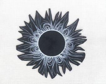 Solar Eclipse iron on patch Mystique Sun and Moon patch Iron on Patch Sun  Moon Jacket Patches for jackets Hoop art Linen Pillow cover