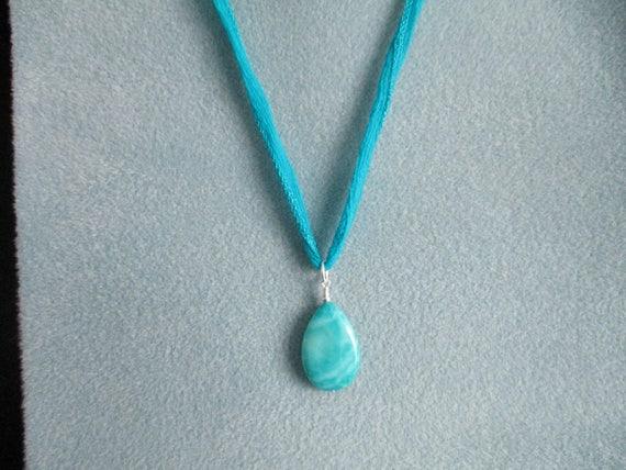 Amazonite Pendant Necklace on Silk Ribbon N622175