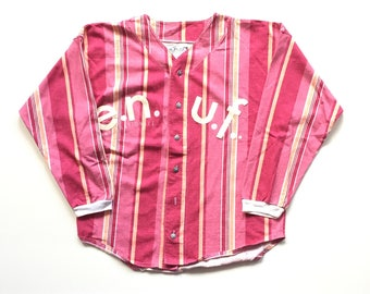 90s enuf E.N.U.F international button front jersey pastel vibrant pink striped baseball jersey 80s hot pink size large