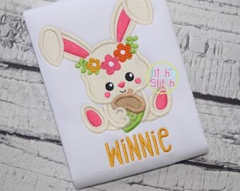 Sitting Bunny Rabbit applique flower crown embroidery forest animals girly birthday acorn 3m 6m 12m 18m 2 3 4 5 6 8 10 12