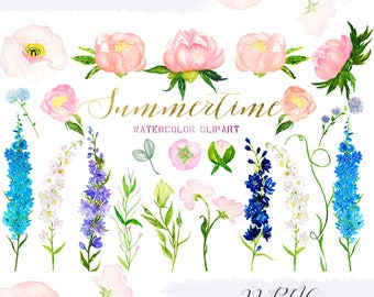 Delphinium. Summertime watercolor flowers. Watercolor clip art. Soft pink peonies, sweet pea, blue delphinium Wedding invitations.
