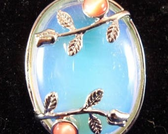 Opalite & Roses Oval Pendant