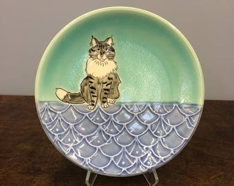 Handmade Lunch Plate, with Maine Coon Kitty. Glazed in Aqua & Blue. MA109