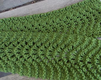 Olive Green  Scarf, Green Lacy Knit Scarf,  Handknitted Scarf, Womens Scarf,  Old Shale, Feather and Fan