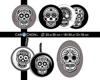 Mexican Skull V • 60 Images Digitales RONDES 25 et 20 mm OVALES 18x25 13x18 mm digital sheet sugar skulls mexicana crane tete de mort muerte