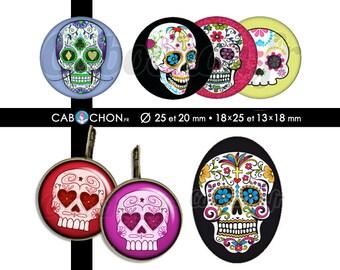 Mexican Skull • 60 Images Digitales RONDES 25 et 20 mm OVALES 18x25 13x18 mm digital sheet sugar skulls mexicana crane tete de mort muerte