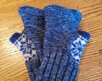 Upcycled Wool Fingerless Mitten  -  medium