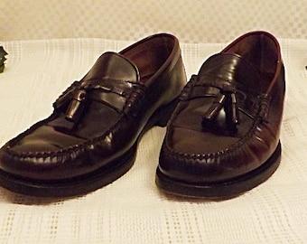 Vintage Freeman Men's Oxblood Leather Tassel Loafers Size 11 . 5